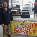 Ryan is enjoying the pizza at Frei Chevrolet