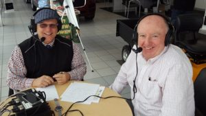 Major Discount and Jim Grundstrom on the air at Frei Chevrolet.