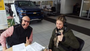 The Major and Jill Grundstrom on the air at Frei Chevrolet