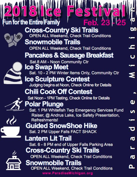 Paradise Ice Festival 2018 - Schedule of Events