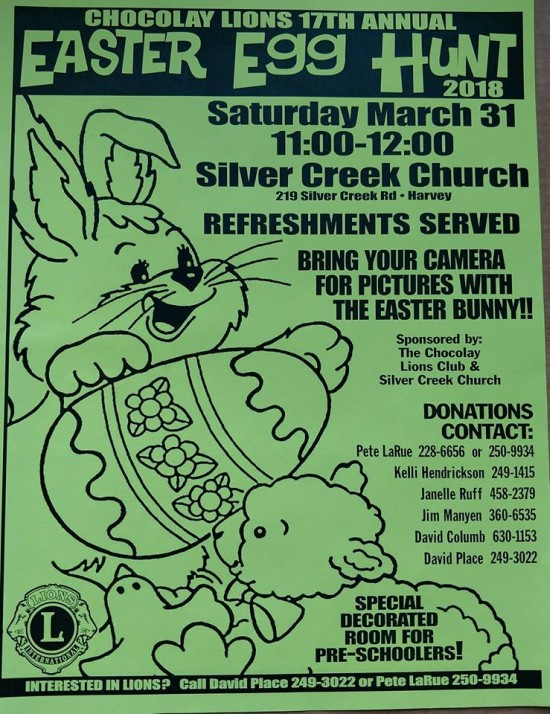 Chocolay Lions 17th Annual Easter Egg Hunt Poster for Saturday March 31 11a-Noon