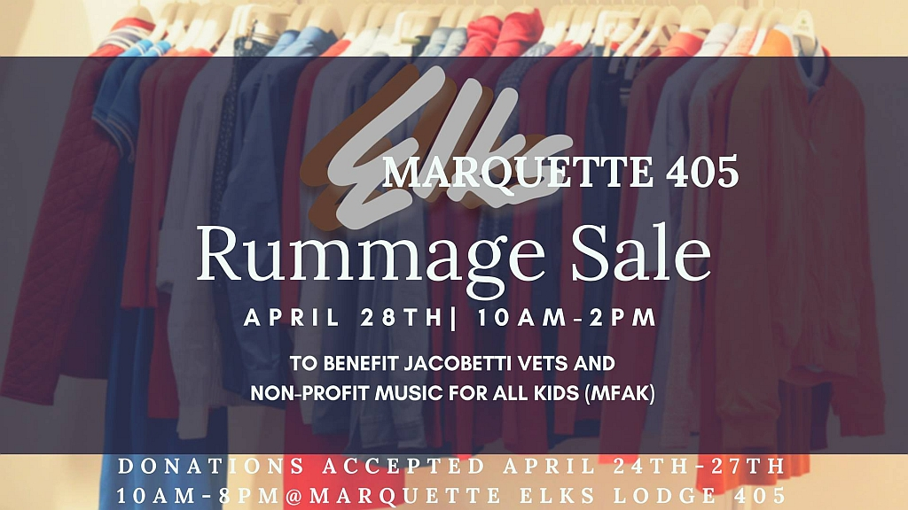 Stop by the Elks at 127 N. Front Street for the Rummage Sale