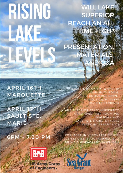 Rising Lake Levels Presentation at Marquette Township April 16th Discussed on 8th Day