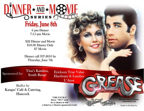 Calumet Theatre - Dinner and Movie Film Series - GREASE - June 7th - Poster