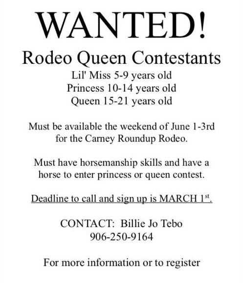 Carney Round-UP Rodeo Queen, Princess, Lil Miss Call Out Poster