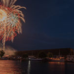 The fireworks really lit up the harbor.