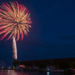 Fireworks over the Marquette Ore Dock in Mattson Lower Harbor.