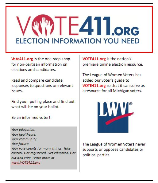 League of Women Voters Vote411 Poster