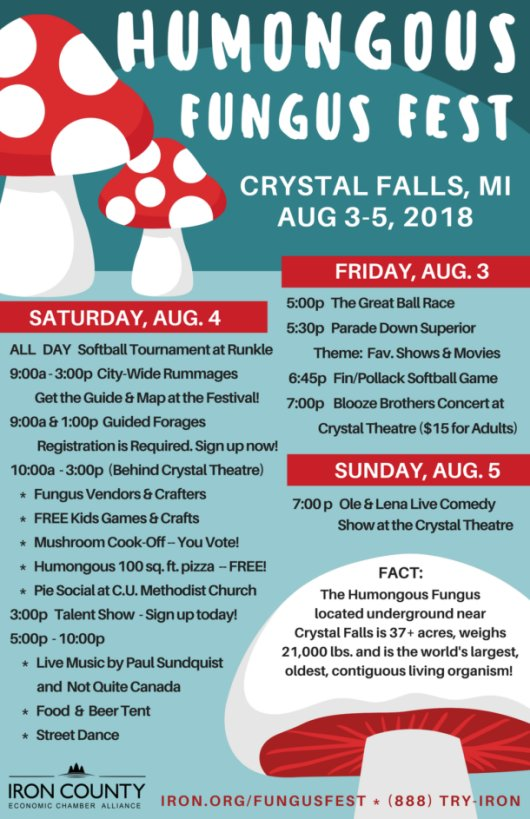 Humongous Fungus Festival, August 3rd – 5th in Crystal Falls, Michigan