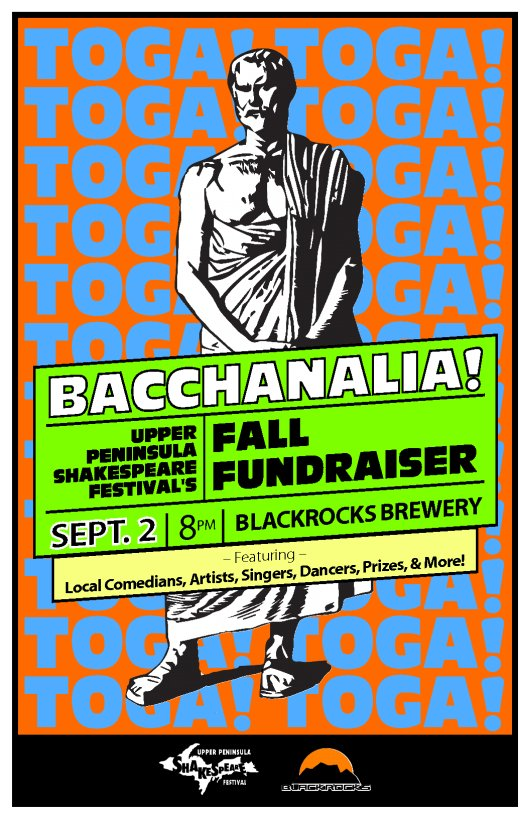 UPShakes Toga Party Fundraiser Sept. 2nd at 8pm at Blackrocks Brewery