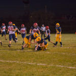 Miners #14, Keegan Erva tackled while capturing a first down in the second quarter.