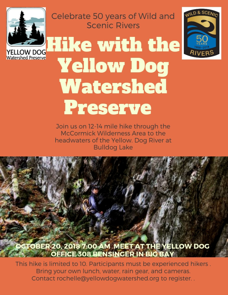 bf65b2fc31 Yellow Dog Water Shed Preserve October 20th Hike into the McCormick  Wilderness Area to Bulldog Lake