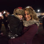 Kelsey and her son Holden at the tree lighting ceremony.