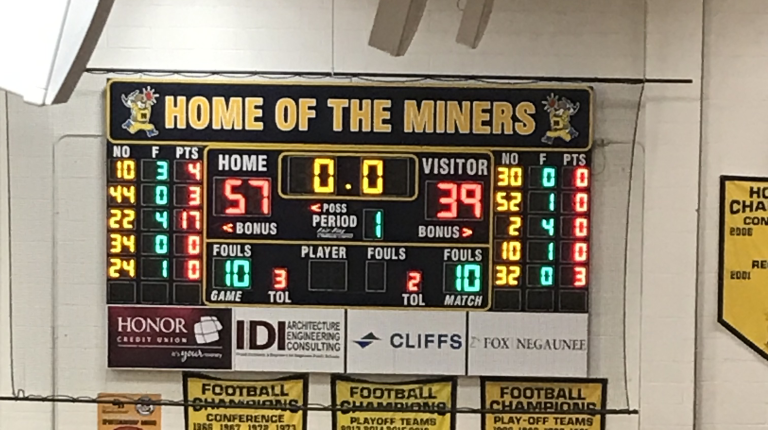 The final score between the Negaunee Miners girls basketball team and the Escanaba Eskymos on 12/04/18