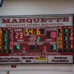 At the end of the second quarter, the Miners were still trailing close behind the Redmen.