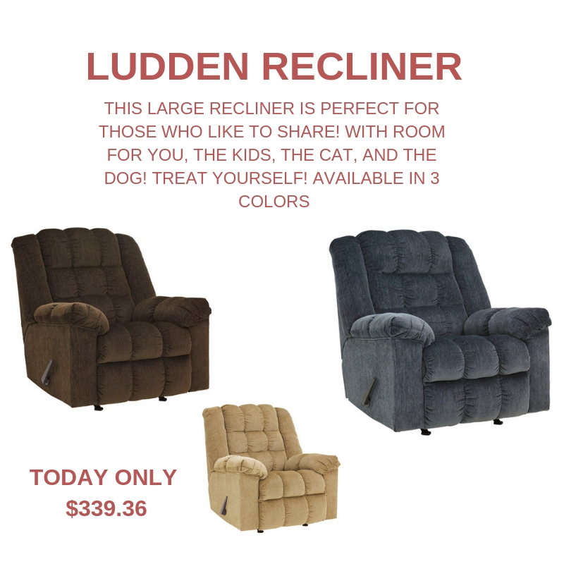 Monday's 21 Days of Christmas Flash Sale Item, a Ludden Recliner for just $339.99