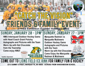 Catch the Marquette Redmen vs Marquette Mutineers Hockey Game Sunday at Lions Field Ice Rink
