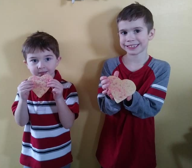 Kelsey's nephew, Titan, and her son, Holden, enjoying their Valentine's Day cookies!