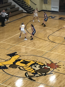 Negaunee controls the ball in their 46-40 win over Calumet on 101.9 SunnyFM.