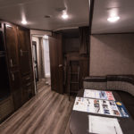 This RV has incredible hardwood surfaces.