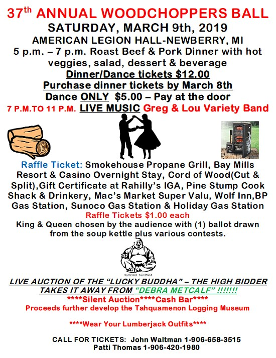 37th Annual Woodchoppers Ball at Newberry American Legion March 9th Poster