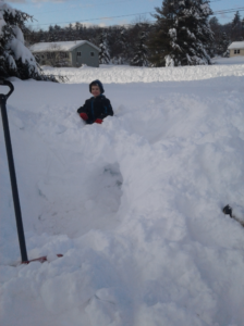 Holden Reyes on top of his snow fort!