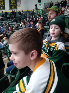 Holden and his friend Gavin at his first Wildcat Hockey Game!
