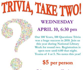 Trivia Take Two at MRHC April 10th