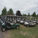 The fleet of golf cars for today's Bay Cliff Open.