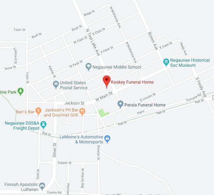 Find Koskey Funeral Home in Negaunee with Google Maps
