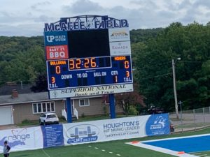 A shot of the scoreboard at McAfee Field, home of Finlandia University, where the Miners defeated the Bulldogs 28-19 on Sunny 101.9FM.