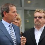 Fox Motors Owner Dan DeVos Speaking to Crowd at Fox Negaunee