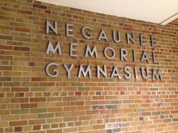 An outside view of the historic Negaunee Memorial Gymnasium,