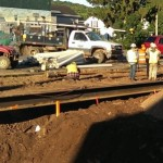 The Lindberg Construction team pauses for a bit to think about what to do next