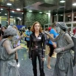 A bored Black Widow trapped between two Weeping Angels