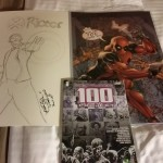 Day One Swag: Sketch of X-Factor/X-Force's Rictor, Deadpool print, and a book of Walking Dead artwork (gift for a friend).