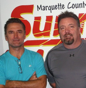 Coach Kevin Shupenia and Community Relations Director Bob Airaudi with the Marquette Royales.