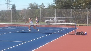 Megan Syrjala, usually of the #3 doubles, moved to singles today and won 6-0, 6-0!