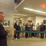 Current President of NMU, Dr. Fritz Erickson, helped Dr. Jamrich cut the ribbon