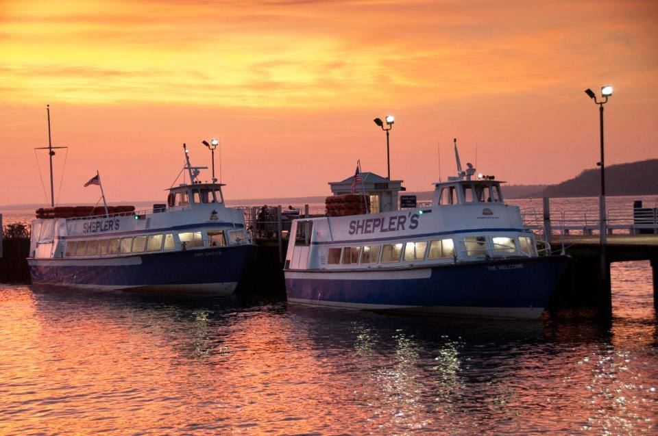 Shepler's Ferry boats at sunset. The sun hasn't set on the season yet - there's still time to get out to Mackinac Island!