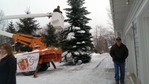 Luke cleans the snow off the new township Christmas Tree