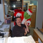 Grinch Messing with Dennis, our Shopping Show Director