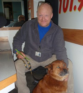 Dave Dausey and Roxy in the SUNNY Studios.