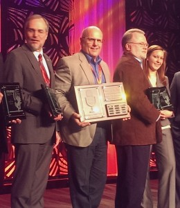 Great Lakes Radio, Inc. Owner and General Manager Todd Noordyk with the MAB Broadcast Excellence Awards for SUNNY FM (101.9 WKQS).