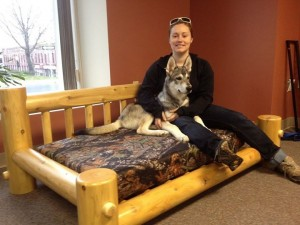 Treat your furry best friend to a beautiful dog bed from Hiawatha Log Homes, Inc.