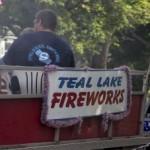 Teal Lake Firworks Float in Pioneer Days Parade 2015
