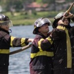Firefighters at the Pioneer Days Community Picnic on Teal Lake2015
