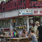 People stopping for food at the Pizzeria during Marquette County Fair 2015