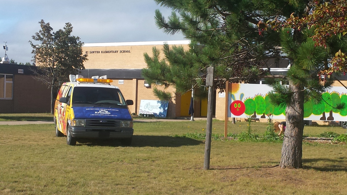 Gordon Mielke was live at the KI Sawyer Elementary School Clean Up Event!
