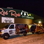 WRUP and Sunny vans blasting christmas music outside Red Rock Lanes!